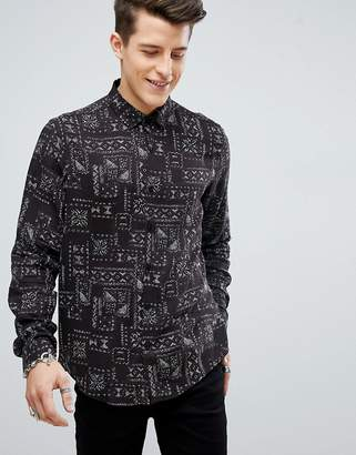 Asos Design Regular Fit Viscose Shirt In Aztec Print In Brown