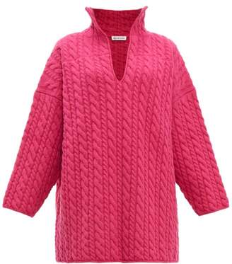 Balenciaga Oversized Cable Knit Sweater - Womens - Pink