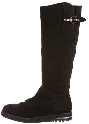 Cesare Paciotti By Midnight Suede Knee-High Boots