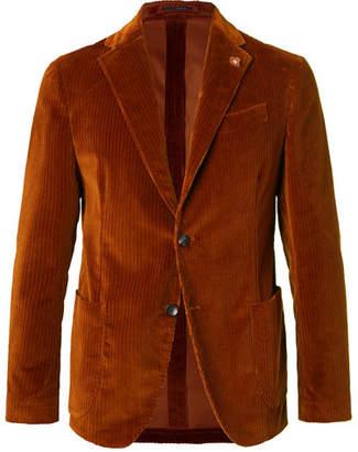 Lardini Chestnut Slim-Fit Unstructured Stretch-Cotton Corduroy Blazer