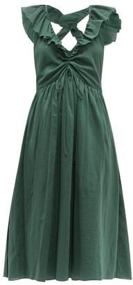 Loup Charmant Naxos Ruffled Cotton Dress - Womens - Green