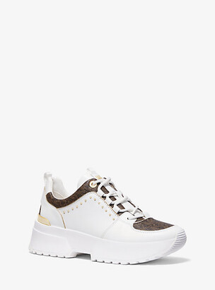 Michael Kors Cosmo Studded Leather And Logo Trainer