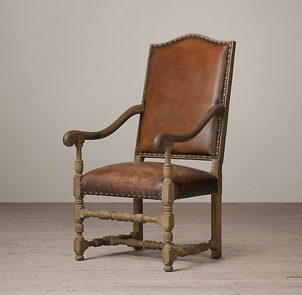 18th C. French Leather Armchair