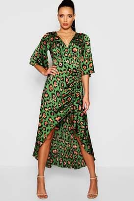 boohoo Leopard Print Rouched Side Maxi Dress
