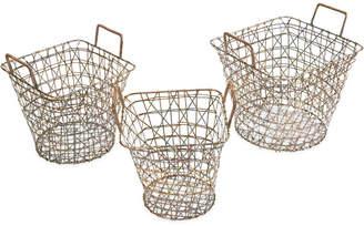 Madison Home USA Havana Wire Baskets, Set of 3