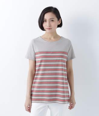 NEWYORKER women's コットン天竺 マルチボーダー半袖チュニックTシャツ