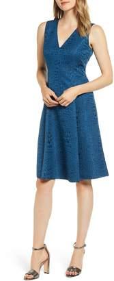 Anne Klein Jacquard Fit & Flare Dress