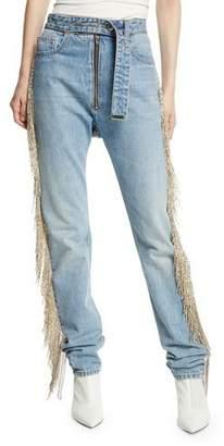 Helmut Lang Straight-Leg Fringe Jeans