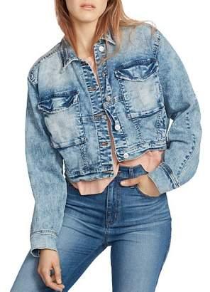 Ella Moss Cropped Dolman-Sleeve Denim Jacket in Cardi