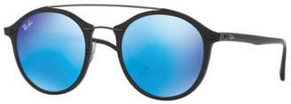 Ray-Ban Round Iridescent Double-Bridge Sunglasses, Havana/Copper