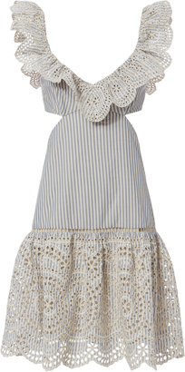 Zimmermann Meridian Striped Frill Dress $630 thestylecure.com