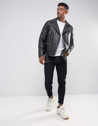Asos Design DESIGN leather biker jacket with belt in black