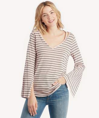 Sole Society LS Split Cuff V-Neck Rapid Simpe Stripe Top