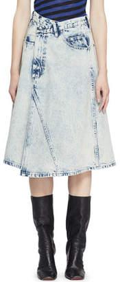 Proenza Schouler Deconstructed Acid-Wash Denim Midi Skirt