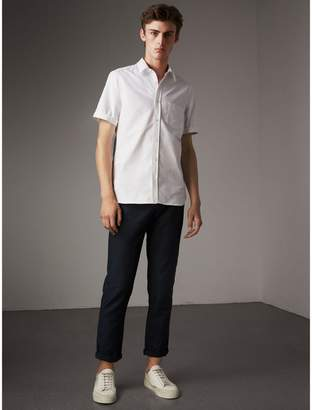 Burberry Check Detail Short-Sleeved Cotton Oxford Shirt