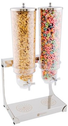 Restaurantware Cereal Dispenser, Dry Food Dispenser - 3 Liter - Two Compartments - Stainless Steel Body - 1ct Box - Met Lux