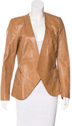 Lafayette 148 Leather Open Front Jacket