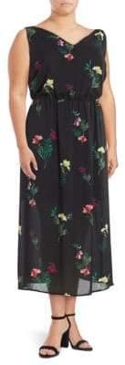 Vince Camuto Plus Double-V Floral Midi Dress