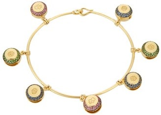 Aurelie Bidermann Fine Jewellery Fine Jewellery - Bells Multi Stone & Yellow Gold Bracelet - Womens - Yellow Gold