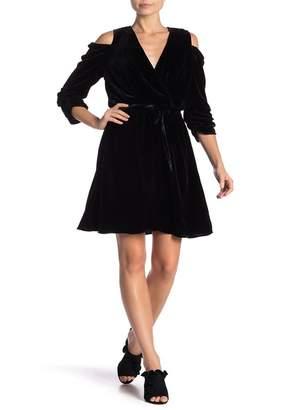 Hale Bob Silk Blend Cold Shoulder Dress