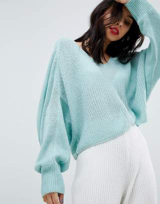 Micha Lounge V-Neck Open Knit Slouch Sweater