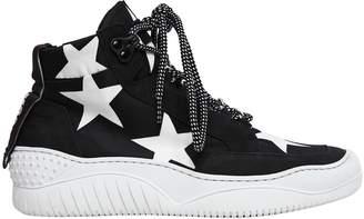 MSGM 40mm Stars Neoprene & Suede Sneakers