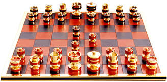 Geoffrey Parker Handmade Leather & Precious Metal Chess Set