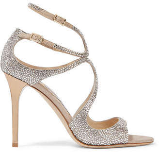 Jimmy Choo Memento Lang Crystal-embellished Metallic Suede Sandals - Beige