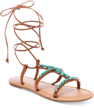 Madden Girl Kalipsoo Lace-Up Embellished Sandals $49 thestylecure.com