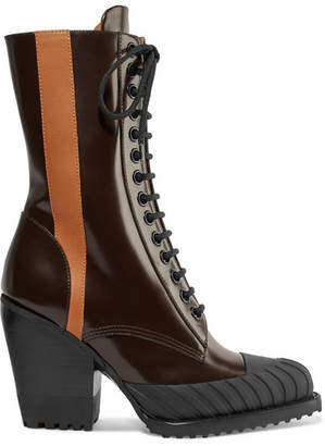 Chloé Rylee Two-tone Glossed-leather Ankle Boots - Burgundy