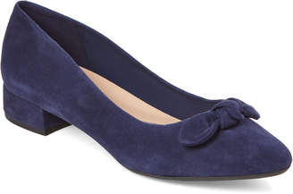 Easy Spirit Navy Calasee Bow Suede Pumps