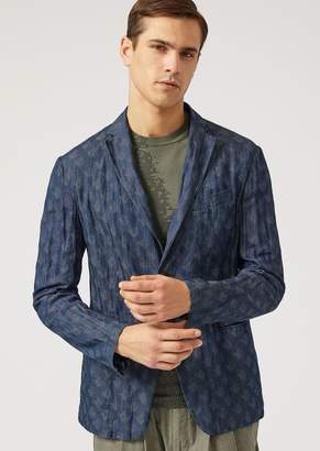 Emporio Armani Single-Breasted Jacket In Washed Fabric