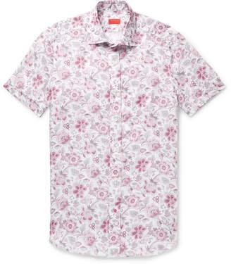 Isaia Slim-Fit Floral-Print Linen Shirt