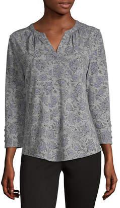 Liz Claiborne Womens Split Crew Neck 3/4 Sleeve T-Shirt