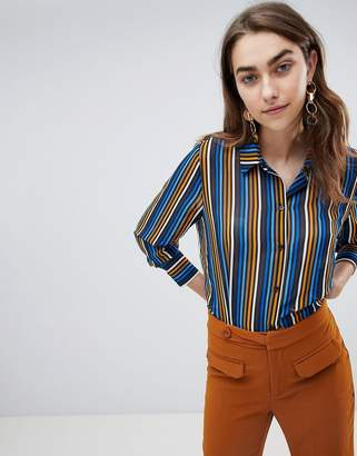 Gestuz multi stripe recycled bottle shirt