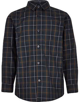 River Island Boys green check long sleeve shirt