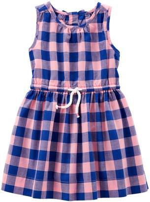 Carter's Girls 4-8 Blue & Peach Plaid Pattern Dress