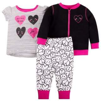 Little Star Organic Knit Bomber Jacket, T-shirt, and Legging Pants, 3pc Outfit Set (Toddler Girls)
