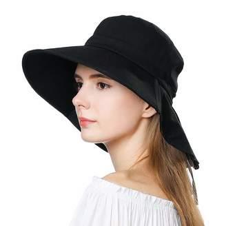 d1011c5d5ea40 Fancet Packable Wide Brim Gardening Summer Sun Hat for Head Women Uv  Protection Chin Strap Black