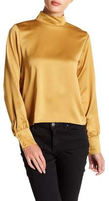 Sincerely Jules Clara Mock Neck Satin Blouse