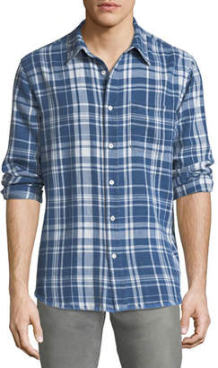 Frame Frayed-Hem Plaid Shirt