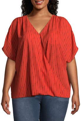 WORTHINGTON Worthington Short Sleeve V Neck Georgette Blouse - Plus