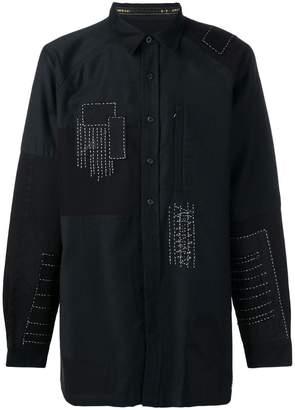 MHI longline patchwork shirt