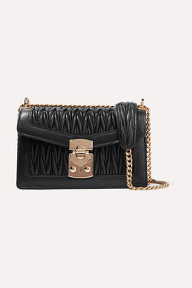 Miu Miu Matelassé Leather Shoulder Bag - Black