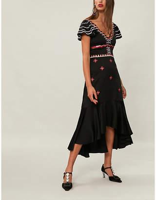 Temperley London Traveller ruffled satin-crepe midi dress