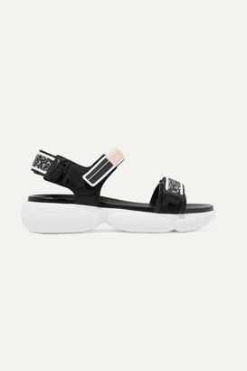 Prada Cloudbust Logo-embossed Rubber And Canvas-trimmed Leather Sandals - Black