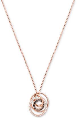 "Swarovski Crystal Pave Interlocking Orbital Circles 14-7/8"" Pendant Necklace"