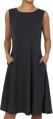 TheMogan Women's Sleeveless Pocket Stretch Cotton Fit & Flare Dress XL