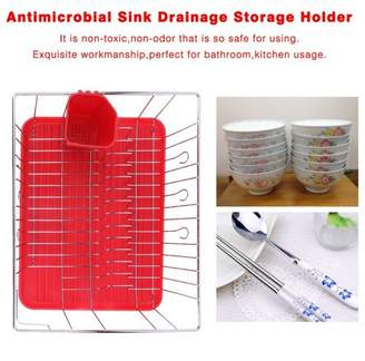 LESHP Multifunctional Antimicrobial Sink Simple Drainage Storage Holder Dishwashing Rack Durable Bathroom Kitchen Shelf