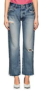 Moussy Women's Alva Distressed Straight Jeans - Blue